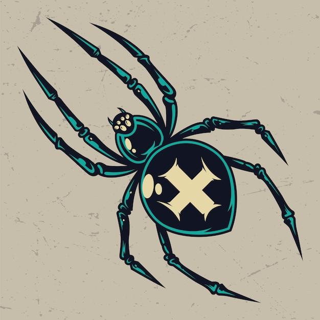 Красочный страшный крест паук марочные шаблон Бесплатные векторы