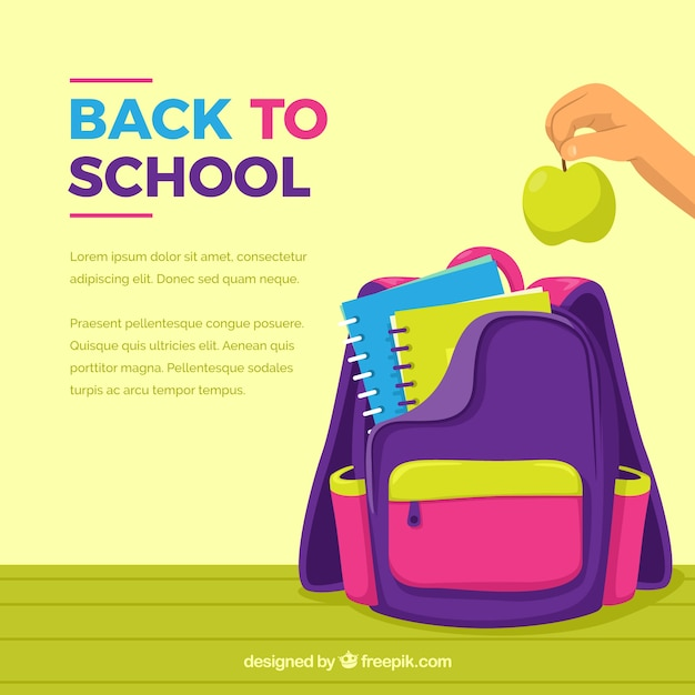 Colorful school backpack background Free Vector