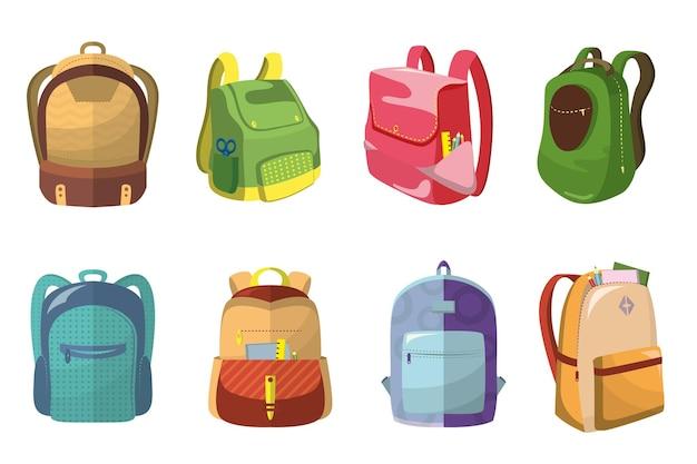 Набор красочных школьных ранцев Бесплатные векторы
