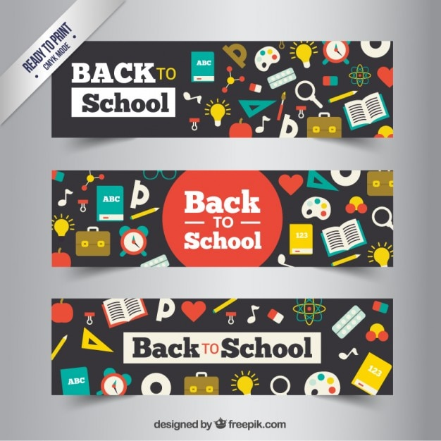 Colorful school banners Free Vector