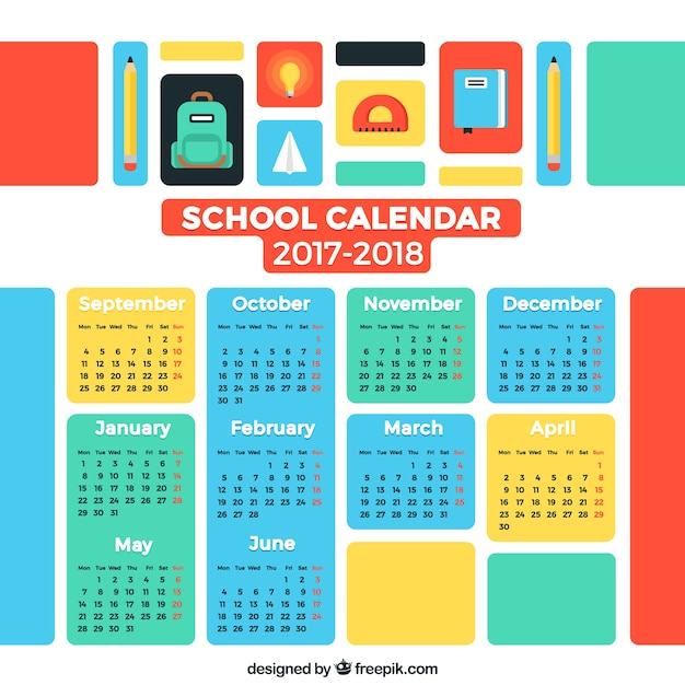 Colorful school calendar 2017-2018