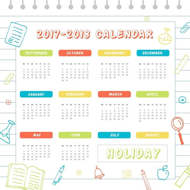 Colorful school calendar 2017