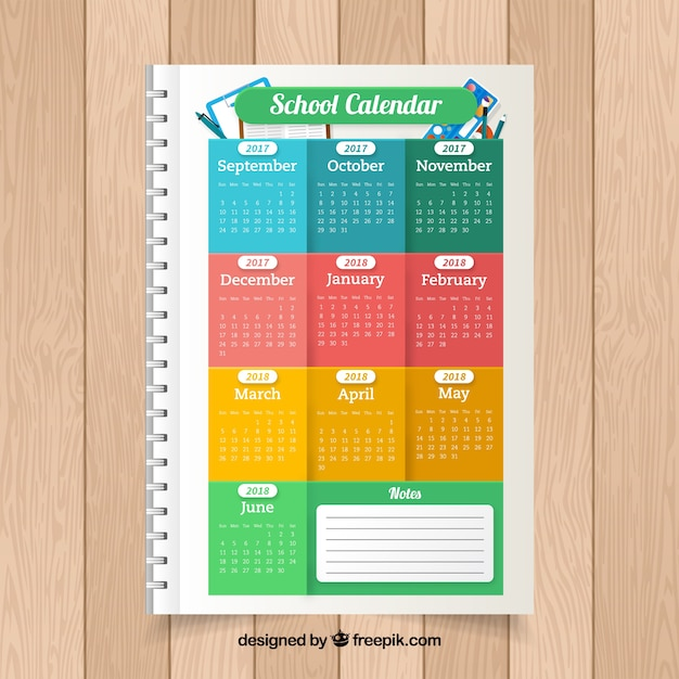 Colorful school calendar on a notebook