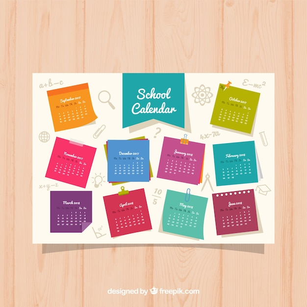 Colorful school calendar on notebook papers