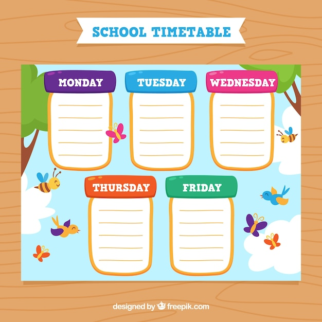 Colorful school calendar with butterflies