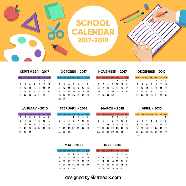 Colorful school calendar with flat design