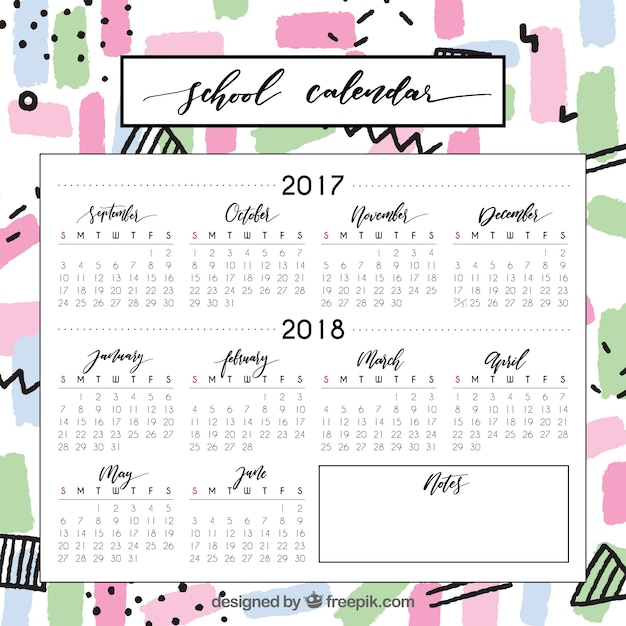 Colorful school calendar with fun style