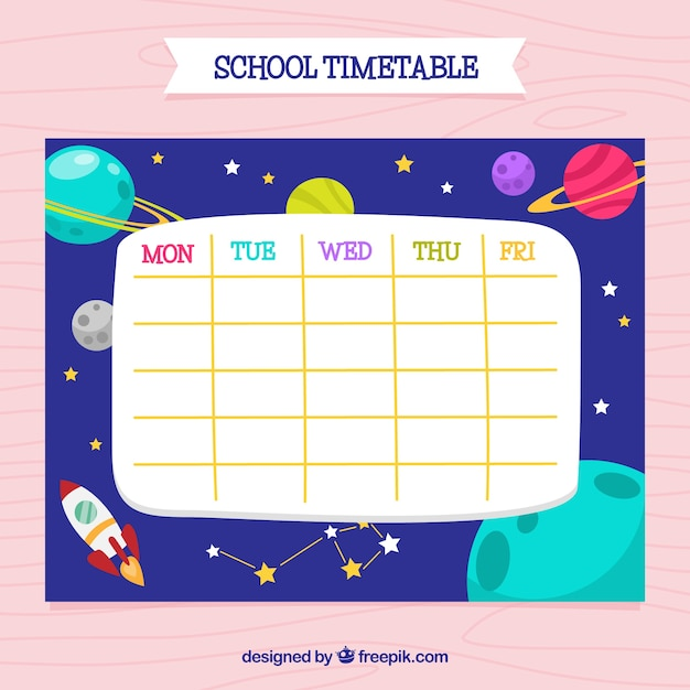 Colorful school calendar with planets
