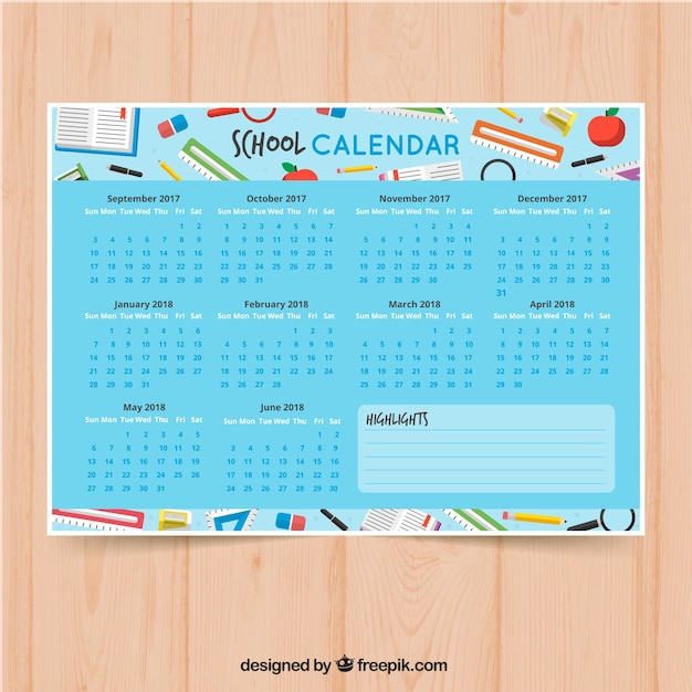 Colorful school calendar with school supplies