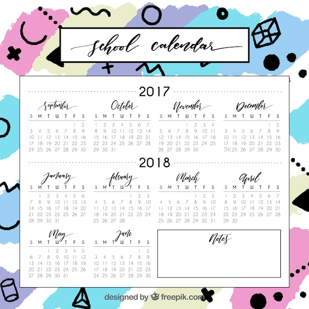 Colorful school calendar with varuety of symbols