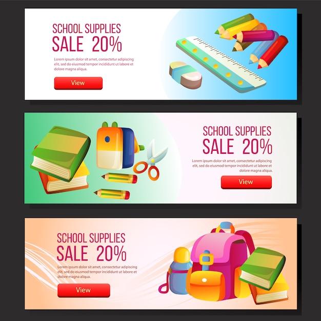 Colorful school sale banner template web set school supplies Premium Vector
