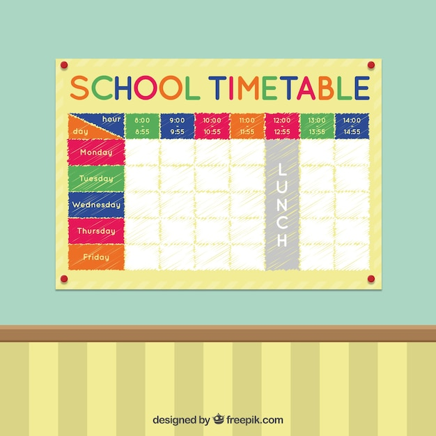 Colorful School Timetable On A Wall Vector Premium Download