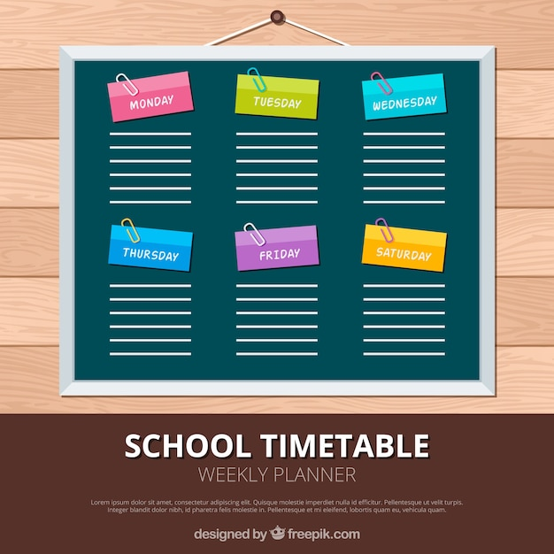Colorful school timetable on the blackboard