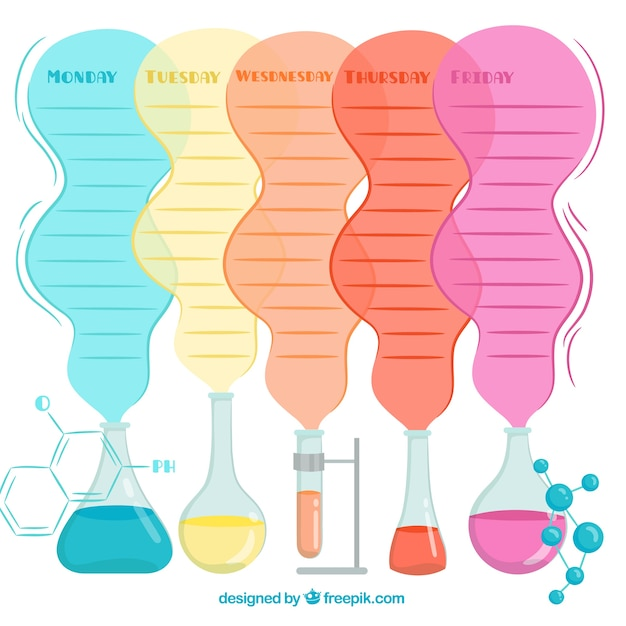 Colorful school timetable template chemistry theme
