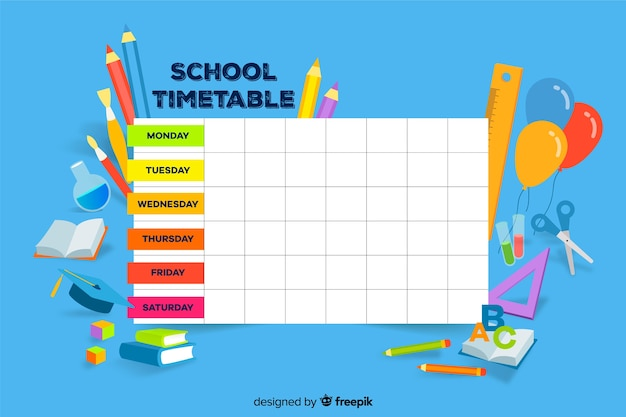 Colorful school timetable template flat design Free Vector