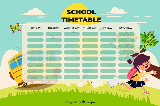 Colorful school timetable template flat design Premium Vector