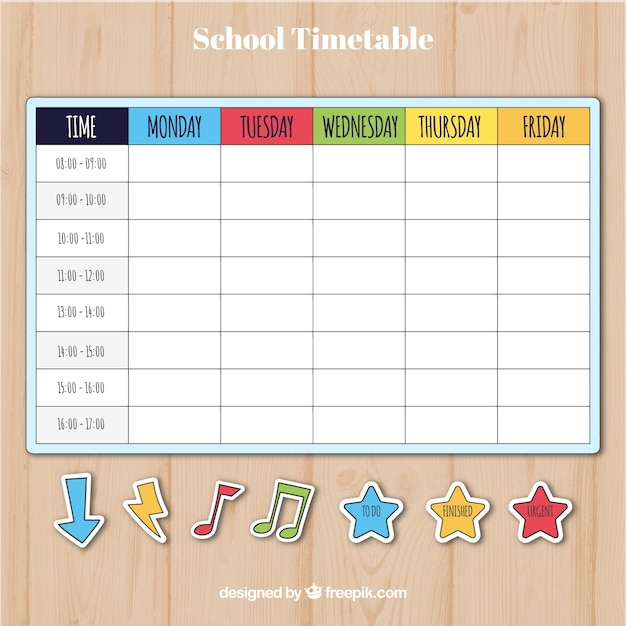Colorful School Timetable Template Vector  Free Download