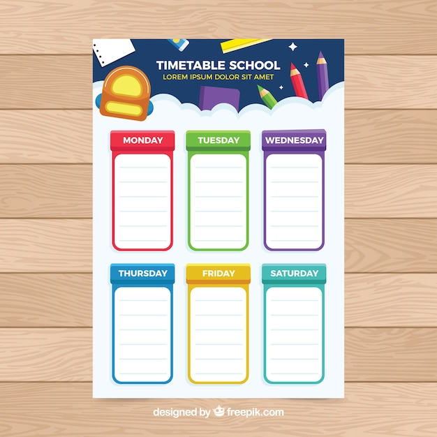 Colorful school timetable Free Vector