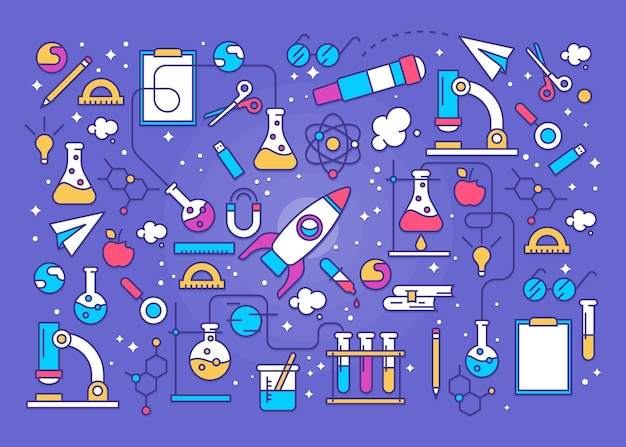 Colorful science education background with rocket Free Vector