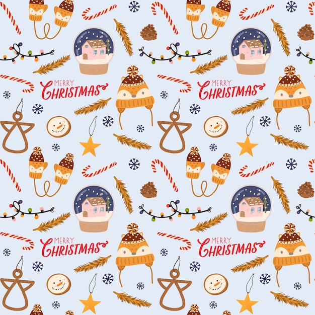 Colorful seamless pattern for christmas and new year with holiday lettering and traditional christmas elements. scandinavian style. Premium Vector