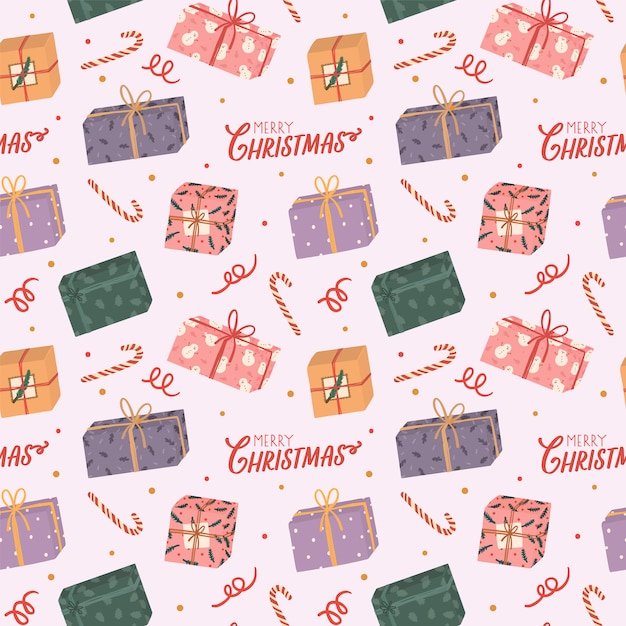 Colorful seamless pattern for christmas and new year with holiday lettering and traditional christmas elements. Premium Vector