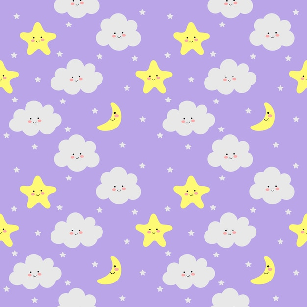 Colorful seamless pattern clouds, moon and stars on purple Premium Vector