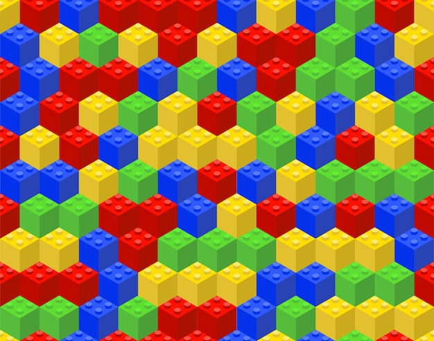 Colorful seamless pattern from plastic cubes. Premium Vector