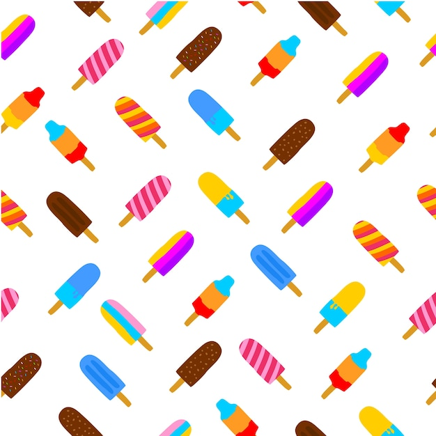 Colorful seamless pattern of popsicle ice cream Premium Vector
