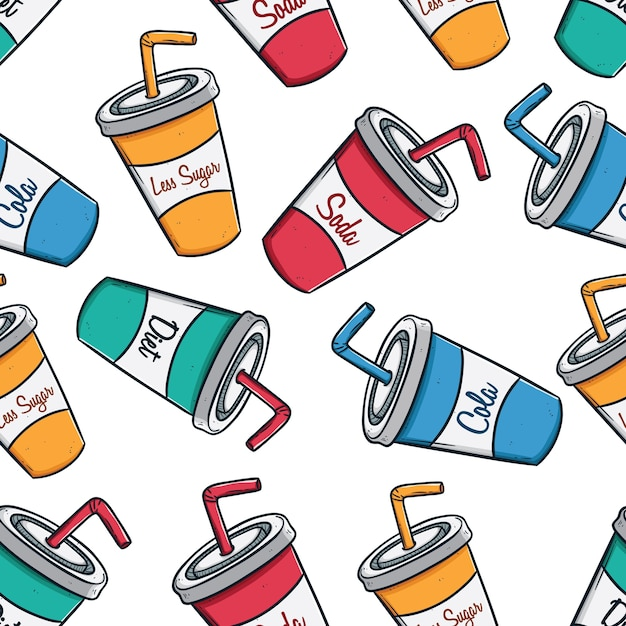 Colorful seamless pattern of soda cups with text Premium Vector