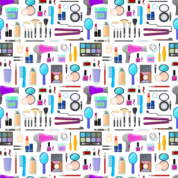 Colorful seamless pattern of tools for makeup and beauty Premium Vector