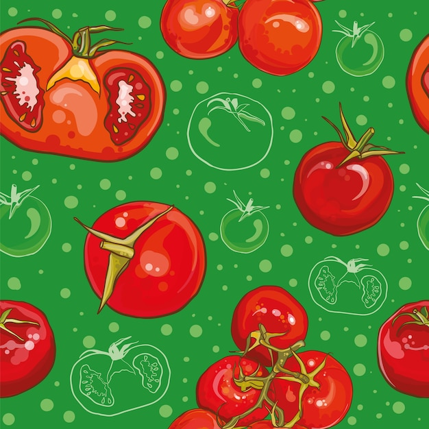 Colorful seamless pattern with bright fresh tomatoes. single tomato, cherry tomatoes, tomatoes on a branch, half a tomato. Premium Vector