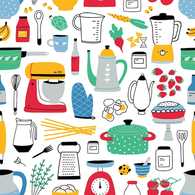 Colorful seamless pattern with cooking tools on white Premium Vector