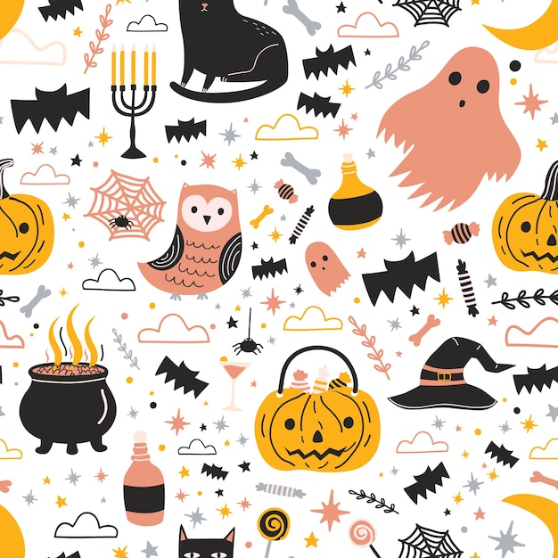 Colorful seamless pattern with cute creepy halloween characters and decorations - ghost, jack-o'-lantern, candies, magic witch hat and pot with potion Premium Vector
