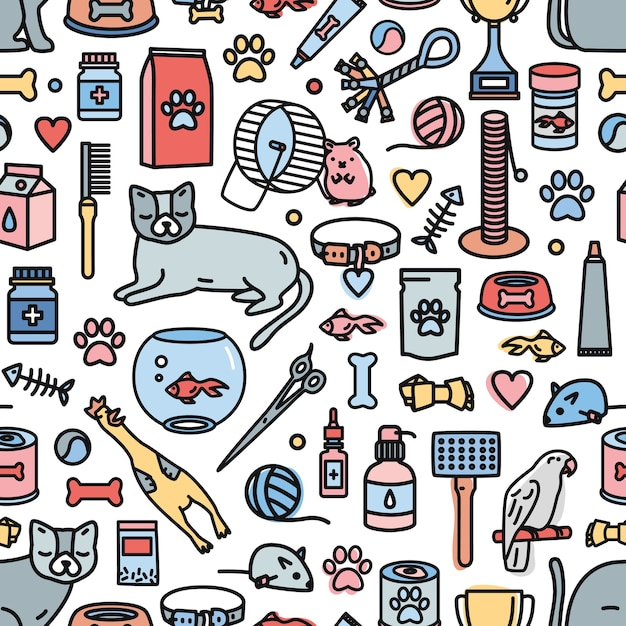 Colorful seamless pattern with domestic animals and tools for pet care, entertainment, grooming Premium Vector