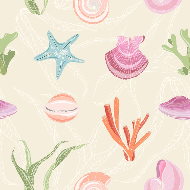 Colorful seamless pattern with seashells, starfish, molluscs, corals and seaweed on light background. backdrop with sea flora and fauna. realistic hand drawn illustration for wrapping paper Premium Vector