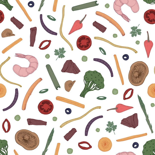 Colorful seamless pattern with sliced food Premium Vector