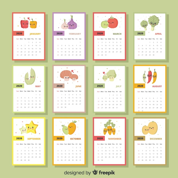 Calendario Ramadan 2020.Colorful Seasonal Vegetables And Fruits Calendar Vector Free Download