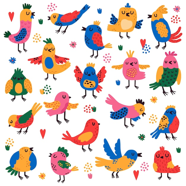 鳥のイラストのカラフルな選択 Premiumベクター