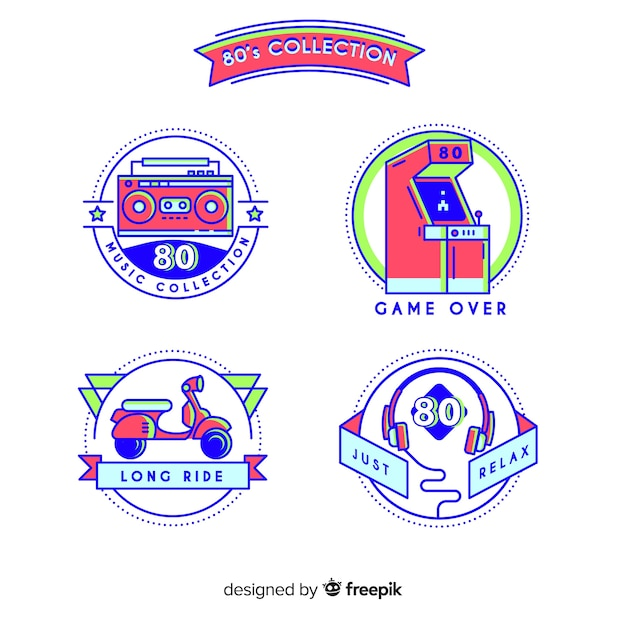 Colorful set of 80s badges Free Vector