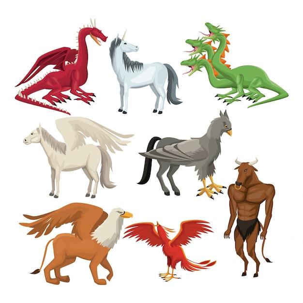 Colorful set animal greek mythological creatures Premium Vector