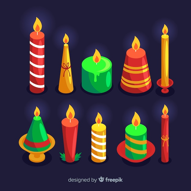 Colorful set of christmas candles Free Vector