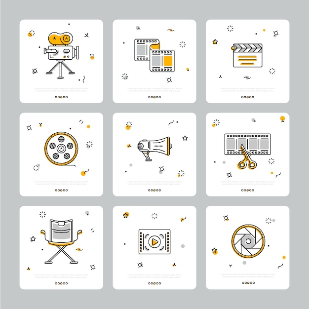 Colorful set of cinematic icons on gray Premium Vector