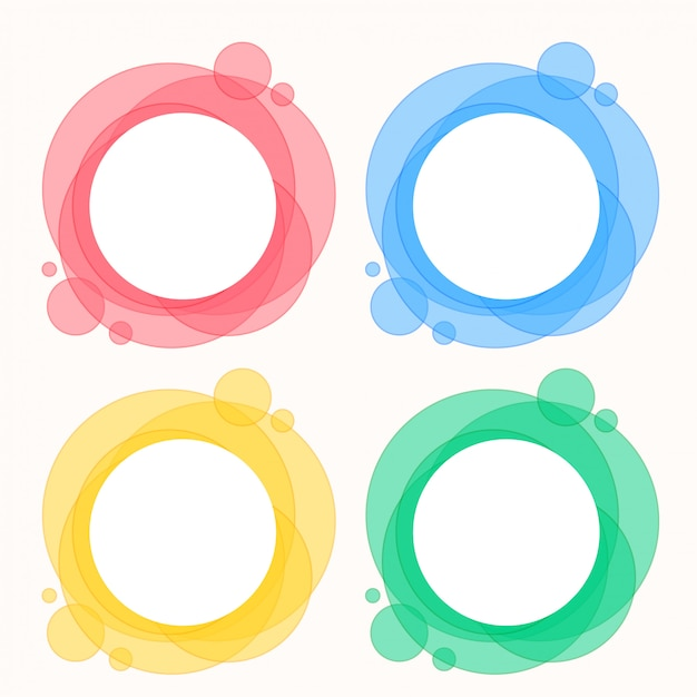 Colorful set of circle round frames Free Vector