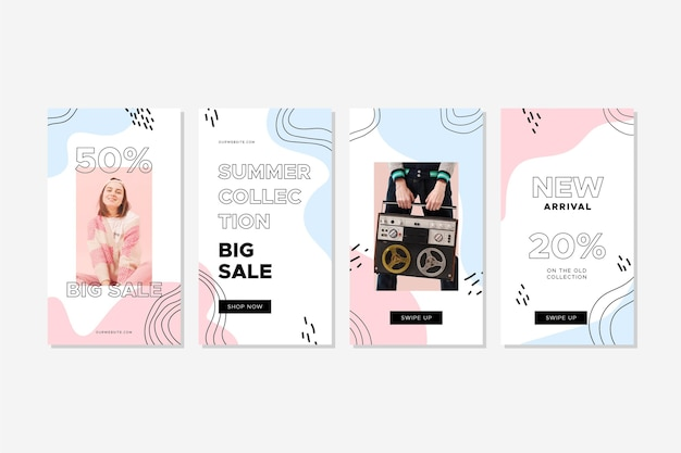 Colorful set of fashion sale stories with photo Premium Vector