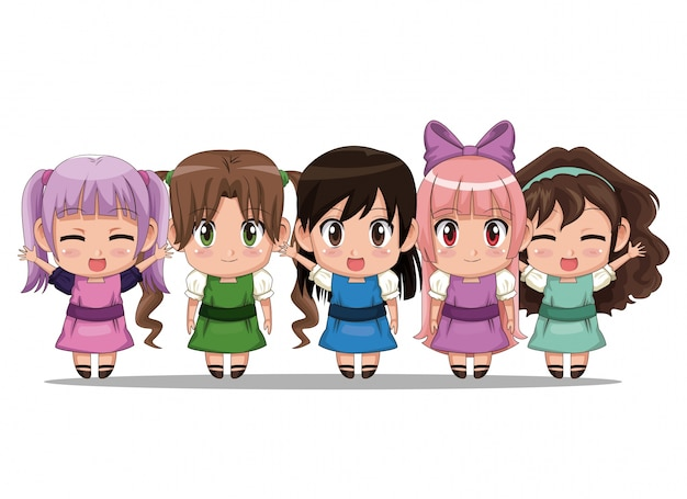 Colorful set five full body cute anime teenagers girls facial expression Premium Vector