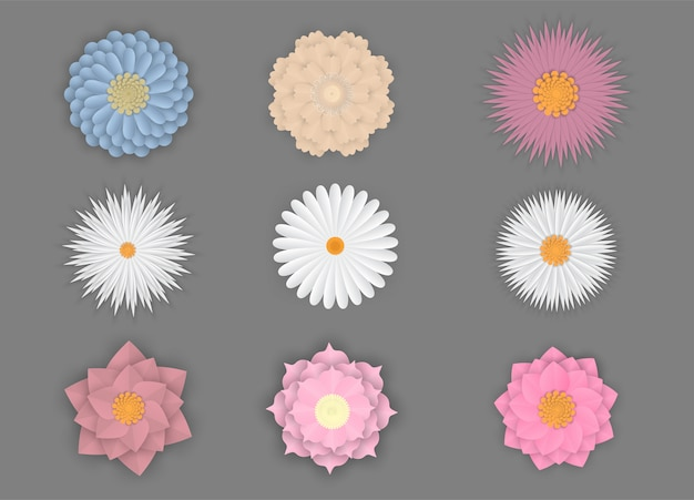 Colorful set of flowers on paper art isolated Premium Vector