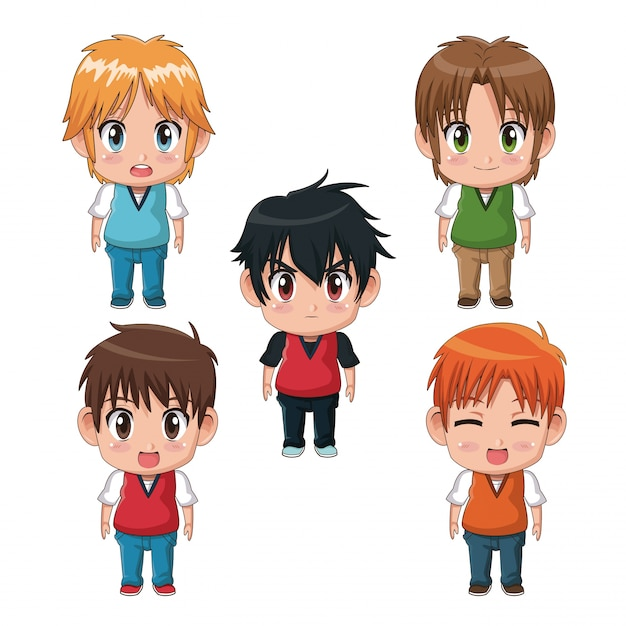 Colorful set full body cute anime teenagers facial expression Premium Vector