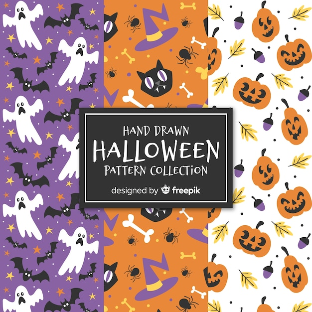 Colorful set of hand drawn halloween patterns Free Vector