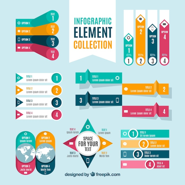 Colorful set of infographic elements Free Vector