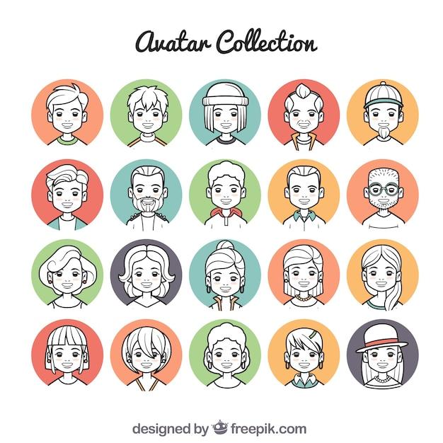Colorful set of cartoon avatars